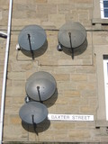 four satellite dishes