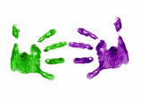 business handshake done with finger painted hands poster