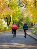 autumn bicyclists poster