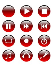 red audio buttons