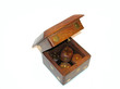 wooden cubes in wooden box
