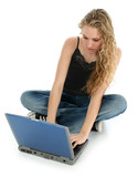 beautiful girl and laptop on floor poster
