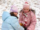children play winter poster