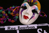 mardi gras mask and beads rue bourbon poster