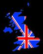 carte de l' uk sur fond noir