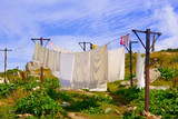 washing hanging on a clothesline outdoors poster
