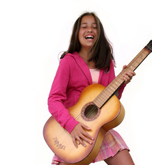 teen girl with guitar isolated