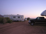 fifth wheel trailers at sunset poster