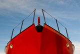 red boat, blue sky poster
