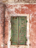 red house and green window shutters in ruin poster