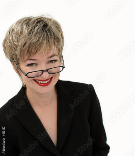smiling businesswoman with eyeglasses