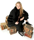 young blonde judge sitting on 70 year old law book poster