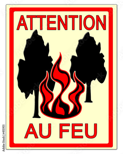 panneau attention au feu