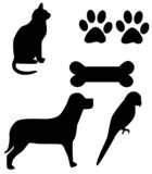 house pets - clip art with working paths poster