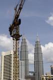 malaysia, kuala lumpur: construction in progress poster