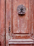 vintage brown door with a keyhole poster