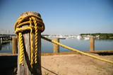 old yellow rope at marina poster