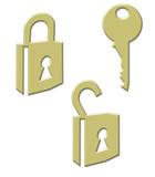 padlocks - unlocked & locked with key poster