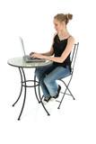 beautiful teen typing on laptop poster