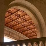 palacio carlos v ceiling detail at alhambra, grana poster