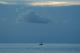 lonely boat, key west islands, florida, u.s.a. poster