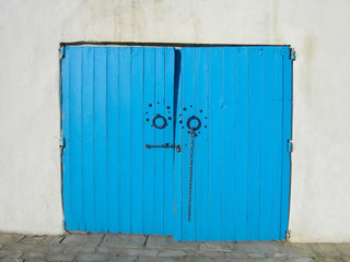 blue double door