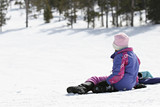girl waiting on snowy hill poster