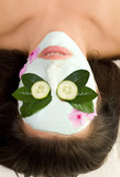 soothing green tea and cucumber mask poster