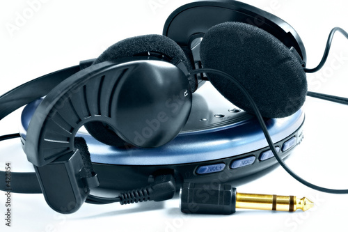 poster of headphones and player