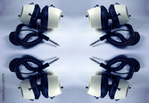 poster of large headphones pattern