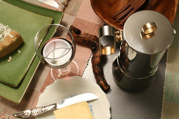 table set with wine and coffee
