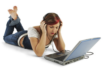 beautiful young woman listening to headphones