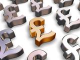 3d sterling pound symbols poster