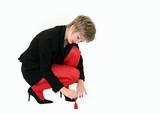 businesswoman applying nail polish poster