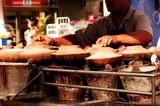 malaysia, kuala lumpur: chinese food in the street poster