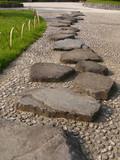 stone way in japanese garden poster