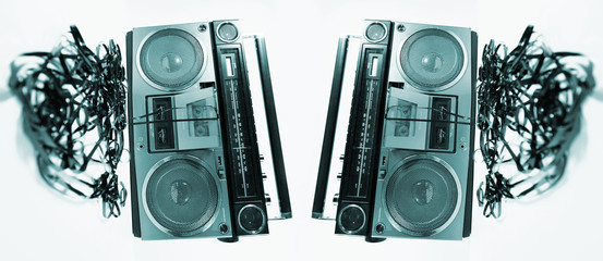 tape spewing boombox