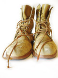 steel toed work boots on white background poster