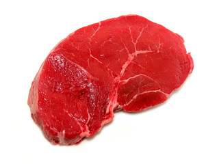 raw steak on white background