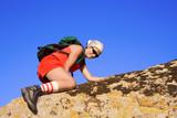 female climbing poster