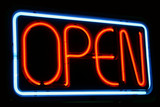 open for business neon sign poster