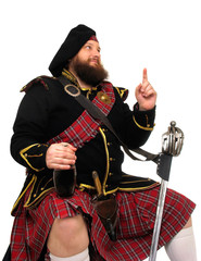 scotch warrior with bottle of red wine