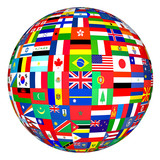flags globe poster