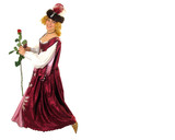 woman in polish clothes with rose poster