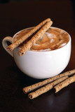cappucino with chocolate sticks poster