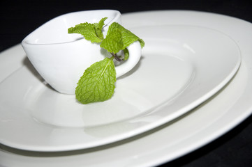 mint on espresso cup