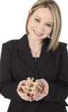 business woman with wooden puzzle poster