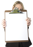 beautiful business woman holding clipboard poster