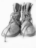 worn out steel toed work boots poster