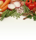 vegetables on a white table poster